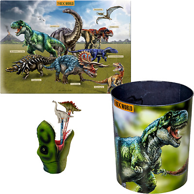 Spiegelburg T-Rex World 3er Set 14502 14539 14566 Unterlage Stiftebox Mülleimer