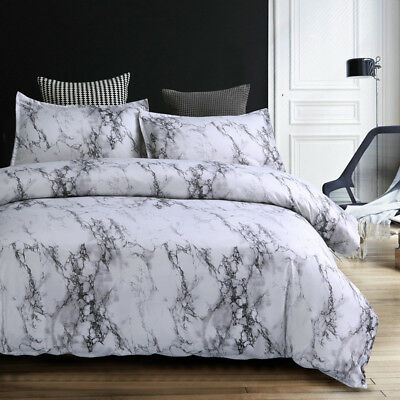 MARBLE Effect Pattern Bed DOUBLE QUEEN King Size QUILT DOONA DUVET COVER SET New