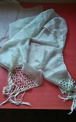 Lovely Vintage Long Fine Silk Scarf With Deep Fringing To Ends Ivory Cream