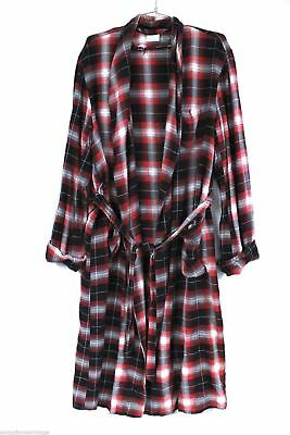 Shadow Plaid Mens Rayon Vintage Robe Pennleigh 1950s Red Gray  M