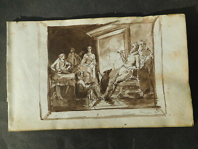 Antique Watercolour Figures in a Room Nov 18th 1840