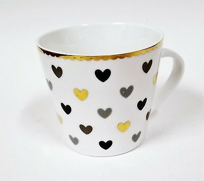 New Grace White With Gold Trim,Black+Gray+Gold Hearts Coffee Mug,Tea Cup(13 Oz.)