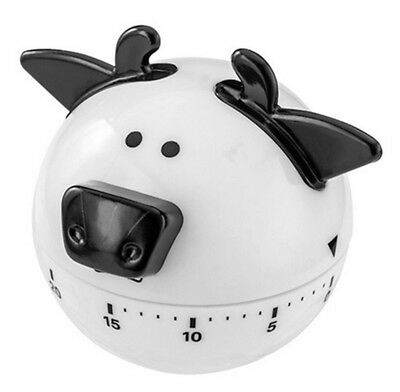 Wind Up 60 Minute Kitchen Timer Cow Design Ringing Alarm No Batteries Required
