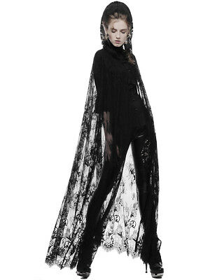 Punk Rave Womens Gothic Lace Cloak Floral Long Black Steampunk Witch Hooded Cape