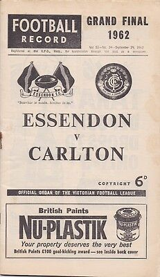 1962  VFL  GRAND  FINAL  Record:  ESSENDON  vs  CARLTON