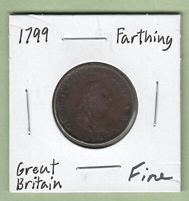 1799 Great Britain One Farthing Copper Coin -George III - Fine