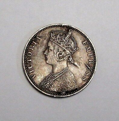 Circulated 1886 British India One Silver Rupee In Nice Condition