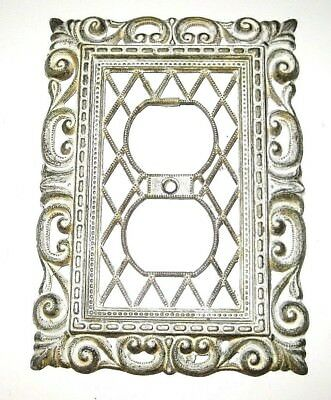Vintage 1968 Brass Gold White Ornate Double Outlet Wall Plate Cover Made in USA