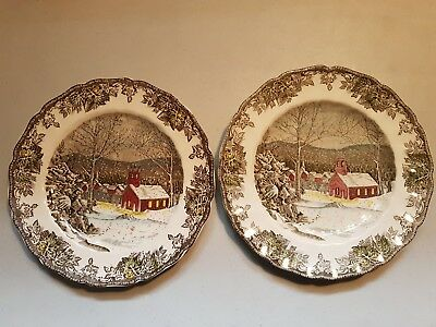(2) Johnson Dinner Plates The Friendly Village The School House 9-3/4""