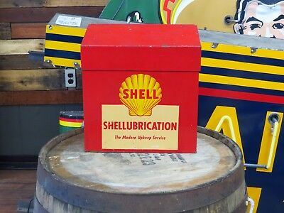 Vintage Shellubrication grease gun and manual cabinet Gas and Oil display SHELL