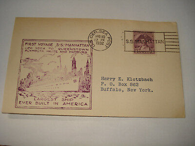 SS MANHATTAN Ocean Liner US UNITED STATES LINES 1932 GERMANY Sea Post HAMBURG CV