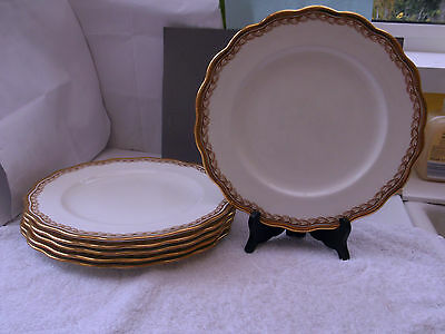 Six  1905 - 20 Cauldon Pottery Dinner Plates  Retailed By Harrods  Gold Pattern