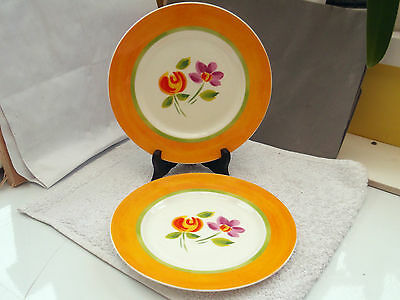 Two  Crown Trent China Salad Plates  With Colourful Floral  Pattern  Orange Edge