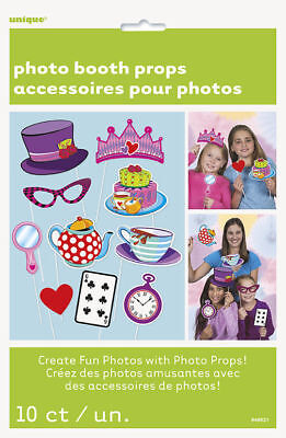 Tea Party Mad Hatter Photo Props 10pc Birthday Game Activity Supplies