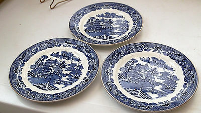 Three Cauldon China Side Plates In Blue And White Willow Pattern