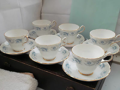 Six Harleigh China Cups And Saucers With A Slate Blue And Grey Pattern
