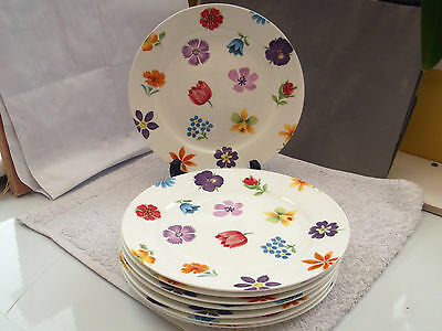 Eight Crown Trent China Salad Plates  With Colourful Floral Pattern  Orange Edge