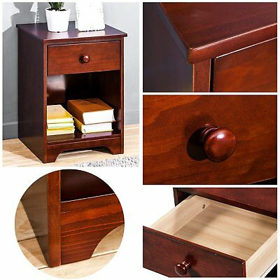 Bedroom Furniture Wooden  Night Stand  with Storage Shelf and Drawer Walnut