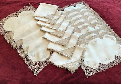 17- Pc Antique Italian Figural Reticella  Needlelace Placemats*Runner*Napkins