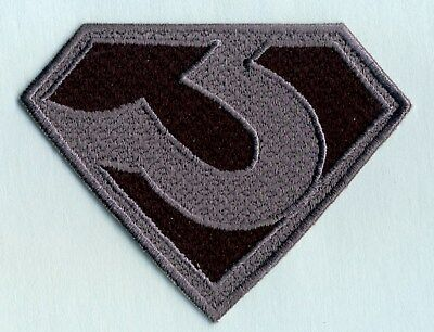 """3"""" x 4""""  ZOD  [Superman Man of Steel style]  Black & Gray Chest Logo Patch"""