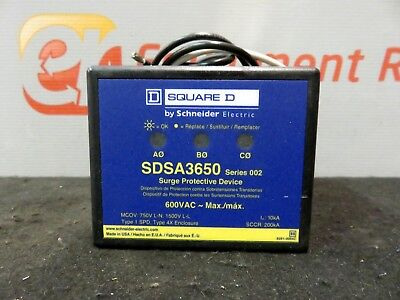 Square D SDSA3650 Series 002 Surge Protector Electrical Circuit Receptacle Panel