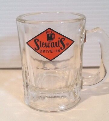 Vintage Stewart's Root Beer Drive-In Restaurant Orange Logo Mini Soda Glass Mug