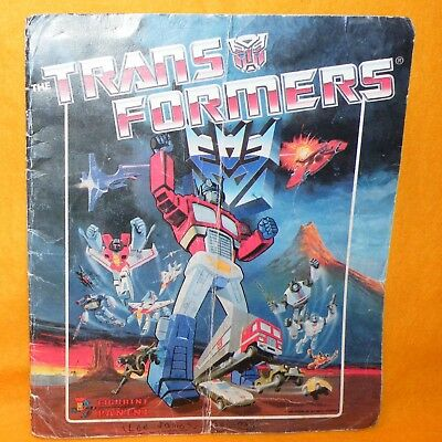 VINTAGE 1986 80s HASBRO PANINI THE TRANSFORMERS STICKER ALBUM BOOK NOT COMPLETE