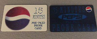 VINTAGE COLLECTIBLE 2 PEPSI 15 min  PRE PAID PHONE CARDS 1990s UNUSED