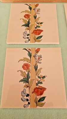 Vintage Stovax 3 Floral Border Tiles 6029 Made in England Original Style 6 in sq
