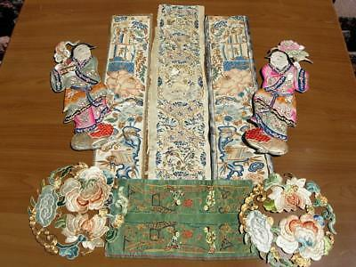 Group Of Antique Chinese Embroidered Silk Panels & Sleeve Bands