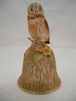 Towle Fine Bone China Bell With A Brown & Yellow Owl