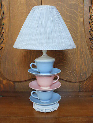 Vintage LuRay Pastels Pink and Blue Teacup and Saucers Homemade Lamp