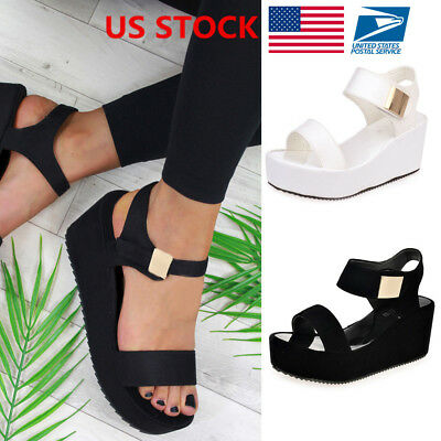 US Women Wedge Heels Ladies Summer Platform Sandals Open Toe Chunky Shoes Size