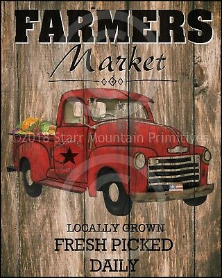 Primitive Vintage Old Red Truck Farmers Market Farmhouse Wood Sign Print 8x10