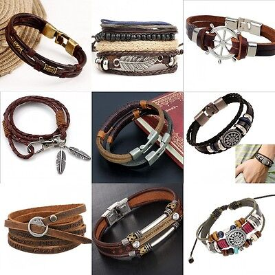 Fashion Retro Multilayer Leather Wristband Bracelet Cuff Bangle Men Women Unisex