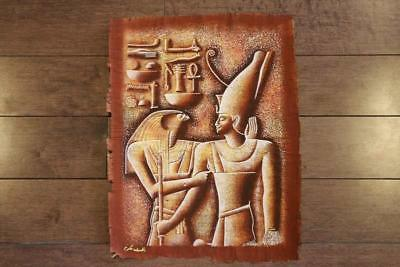 """Unique Signed Handmade Papyrus Egyptian GOD Horus & King Painting_17""""x13"""" Inches"""