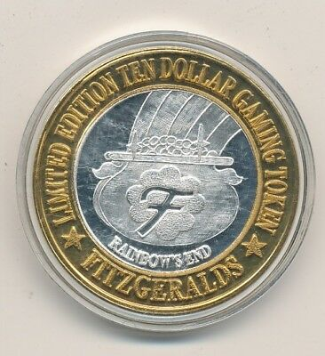 Limited Edition Ten Dollar Gaming Token Fitzgeralds .999 Fine Silver - FREE Ship