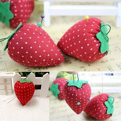 5Pcs Red Strawberry Shaped Pin Cushion Pillow Needles Holder Sewing Craft Kits