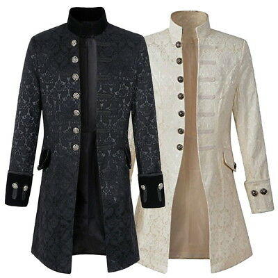 Retro Mens Gothic Brocade Jacket Frock Coat Steampunk VTG Victorian Morning Coat