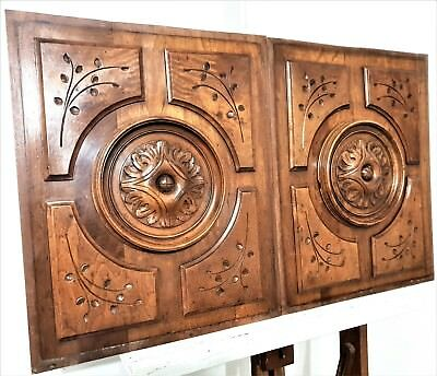Gothic Rosace Pair Hand Carved Wood Panel Antique French Architectural Salvage