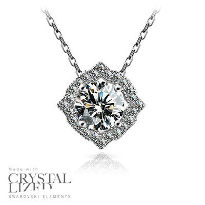 BRILLIANT Swarovski Elements Crystal 18-KRGP White Gold Plated Necklaces