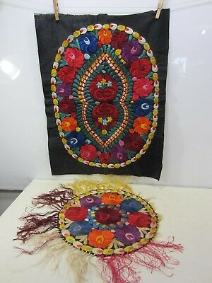 2 1930's Hand Made Hungarian Silk Matyo- Rectangle, Round Doily & Crocheted
