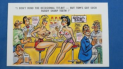 Risque Comic Postcard 1960s Dentist Orthodontist Sharp Teeth Big Boobs SNACK BAR