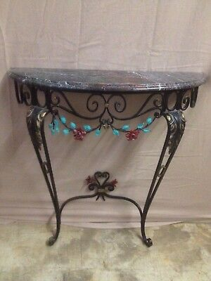 Vintage Decorative Wrought Iron Granite Top Entry Hall Table
