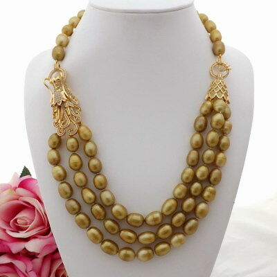 """K081803 3Strands 21""""-24"""" Champagne Rice PearlNecklace CZ Pendant"""