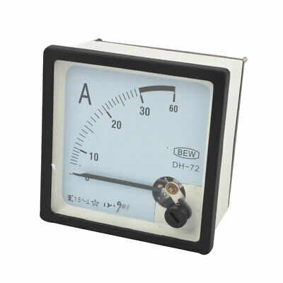 DH-72 AC 0-30 Amps Clear Square Face Screws Mounting Pointer Type Analog Ammeter