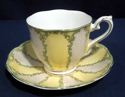 Rare Royal Albert Bone China Rococo Yellow with Green Tea Cup and + Saucer Set