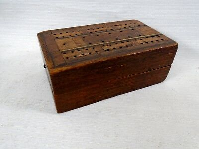 Stunning Hand Made Cribbage Board inlaid Marquetry Folk Art Woodworking Box
