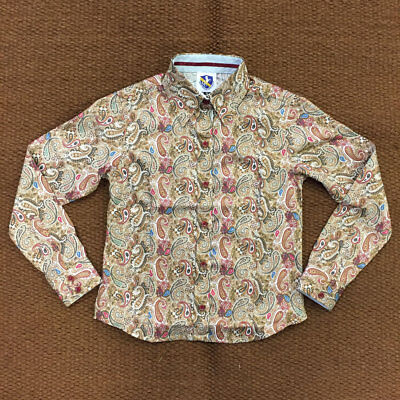 38232 Royal Highness Girls Brown Paisley Button Down Western Show Top NEW