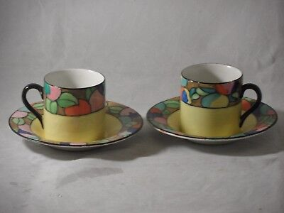 2 Rare Charlotte Rhead Tube Lined 324 Hj Wood Bursley Ware Coffee Cans Saucers